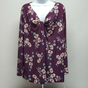 Womens Style & Co Plus Size Floral Print Shirt Top